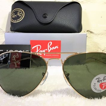 Cheap NEW AUTHENTIC RAY BAN AVIATOR RB3025 001/58 58MM POLARIZED GREEN LENS GOLD FRAME outlet
