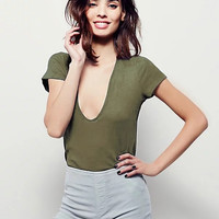 Deep V Stretch Slim Cotton Short Sleeve Tops T-shirts [7767312263]