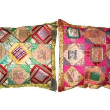 "2 Vintage Silk Pillow Shams, Ethnic Sari Shabby Chic Cushion Covers Toss Pillow 16"" Gift Idea"