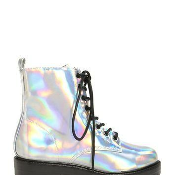 Holographic Ankle Boots