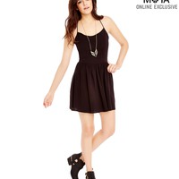 Aeropostale Womens Solid Open-Back Sundress - Black,