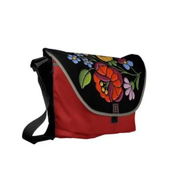 Kalocsa Embroidery - Hungarian Folk Art black bg. Commuter Bag from Zazzle.com