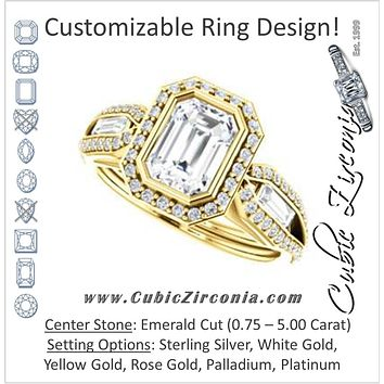 Cubic Zirconia Engagement Ring- The Alekhya (Customizable Cathedral-Bezel Emerald Cut Design with Halo, Split-Pavé Band & Channel Baguettes)