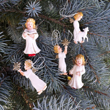 Lot 5 Vintage Celluloid Angel Christmas Ornaments, Miniature Plastic Tree Decorations