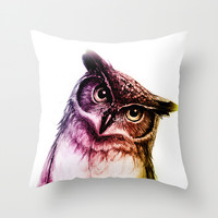 The wise Mr. Owl Throw Pillow by Isaiah K. Stephens