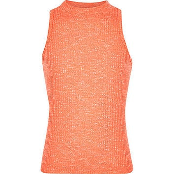River Island Girls coral ribbed turtle neck top