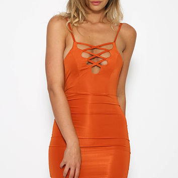 Nicole Rose Dress - Burnt Orange