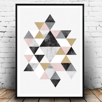 Watercolor abstract, wall print, nordic design, minimal art, office decor, triangle decal, scandinavian print, gold and black, geometric art