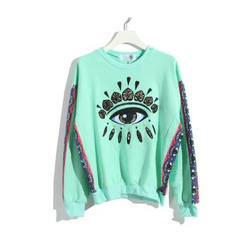ZLYC Embroidery Evil Eye Sweatshirt with Contrast Print Sleeves for Girls