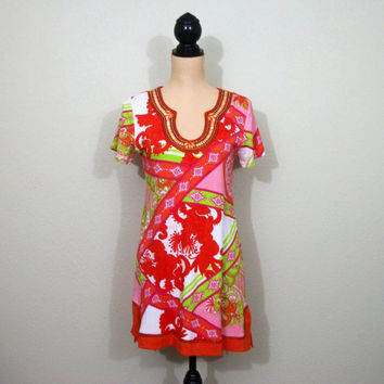 Asian Mini Dress Short Sleeve Tunic Dress Summer Dress Small Medium Pink Orange Lime Green Knit Dress Beaded FREE SHIPPING Womens Clothing