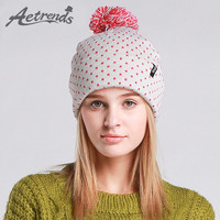[AETRENDS] 2016 Winter Beanie Hats for Women Autumn Female Caps Beanies Pompom with Top Ball Z-3083