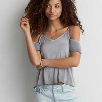 AEO Soft & Sexy Cold Shoulder T-Shirt , Lead