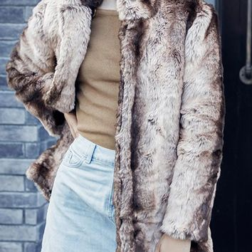 New Khaki Striped Print Band Collar Long Sleeve Fashion Faux Fur Coat