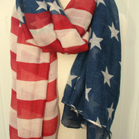 Vintage American Flag Scarf 4th of july Fourth of July  Cute Scarf Women's Scarf - By PiYOYO