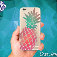Pineapple Fruit Pink Mint Ombre Cute Accessory Custom Clear Transparent Rubber Case Cover For iPhone 6 and iPhone 6 Plus +