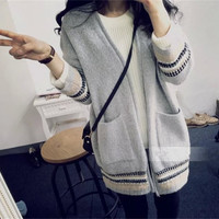 Embroidery Stripe Long Sleeve Double Pocket Cardigan Sweater