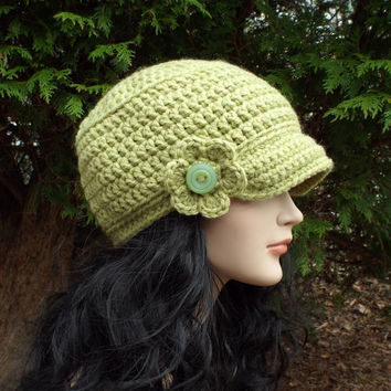 Light Green Cadet Hat - Womens Military Cap with Flower - Crochet Hat with Visor