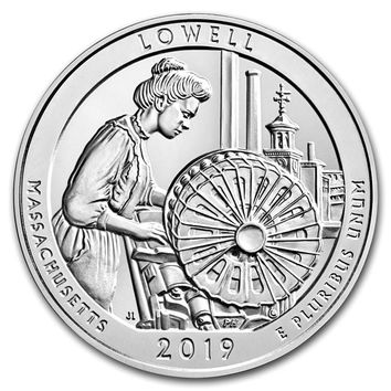 2019-P 5 oz Silver America the Beautful Lowell National Historic Park (w/ Box & COA)