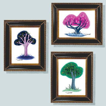 "Three Trees, Illustration, Wall Art, 5""x7"" Digital Download, Homage to Mary Blair, 3 trees, Retro Wall Art, Mid Century, Modern, Disney, Art"