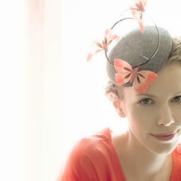 Spring Dark Grey Cocktail Hat with Orange by HandmadeHatsbyElla
