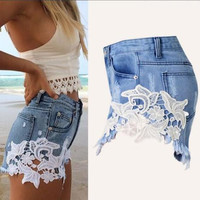 Fashion Lace Patchwork Women Denim Shorts 2016 Side Lace Crochet Sexy Skinny Plus Size S-XXL Women Jeans Summer Hot Shorts B6506