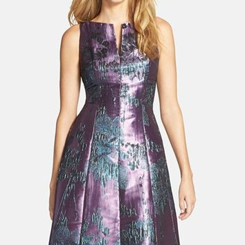Women's Adrianna Papell Metallic Jacquard Fit & Flare Dress,