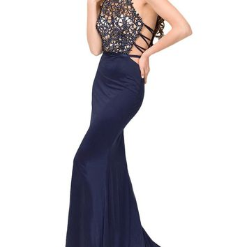 Sexy Backless Mermaid Prom Dresses 2016 Halter Neck Lace Silvery Beaded Open Back Sweep Train Mermaid Evening Gowns