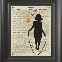Jumping Girl -printed on Frienship page. 250Gram paper.