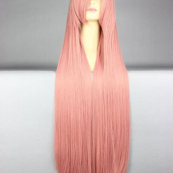 40 inches Harajuku Anime Pink Cosplay Wig Young Long Straight
