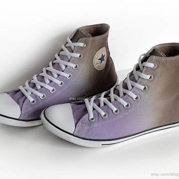 Ombré dip dye Converse All Stars, purple, mocha brown, upcycled sneakers, transformed vintage shoes, size 42.5 (UK 9, us mens 9, us wo's 11)