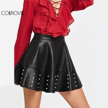 COLROVIE PU Leather Flared Mini Skirt Women Pearl Embellished Raw Hem Black Cute Skirts 2017 Autumn Zip Side High Waist Skirt