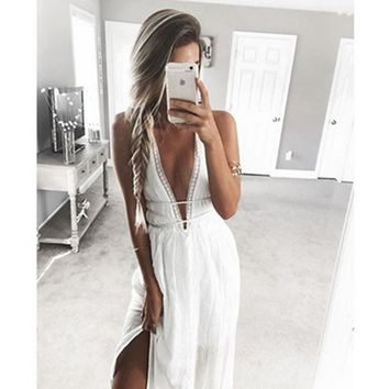 Fashion Sexy V neck chest hollow under side open long vest dress