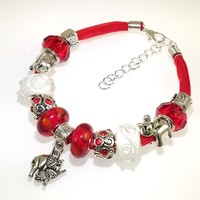 European Charm Beaded Leather Friendship Bracelet - Red Elephant