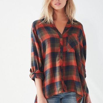 UO Brendan Drapey Flannel Button-Down Shirt   Urban Outfitters