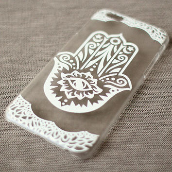 Plastic iPhone 6 Case, Clear iPhone 6 Cover with White Lace Print, Boho Phone Cover, Evil Eye iPhone Case, Hamsa Hand iPhone Case, Slim Case