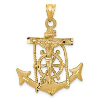 14k Mariners Cross 40x26mm Pendant