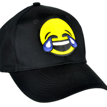 Cry Laughing Face Emoji Hat Tears of Joy Baseball Cap Alternative Clothing