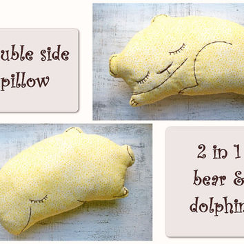2 sides stuffed bear dolphin pillow nursery decor 9x15' rustic primitive animal stuffed toy baby shower gift pastel yellow