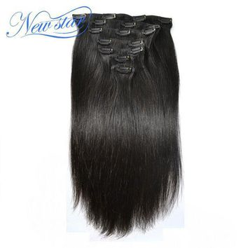 PEAP78W New Star Clip In Brazilian Straight Virgin Hair Extensions 7Pcs/Set 120G Natural Color Human Hair