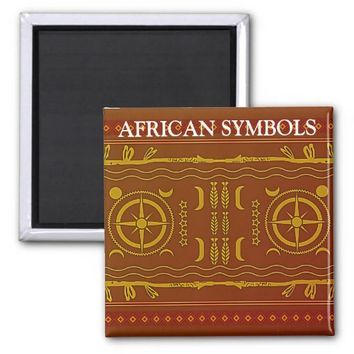 Chestnut Golden Brown African Symbols Magnet