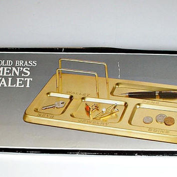 Solid Brass Men's Valet In Box New Old Stock for Dresser, Desk Vintage Organizer