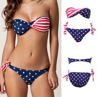Beautiful Stripe Sexy Flag Swimsuit