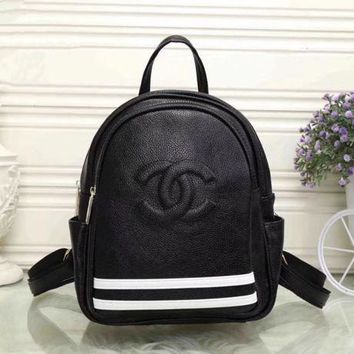 CHANEL Women Casual School Bag Cowhide Leather Backpack G