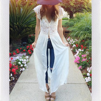 LIGHT THE WAY DUSTER TOP- IVORY