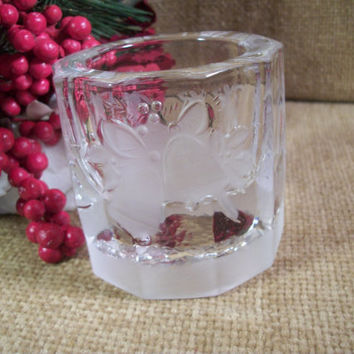 Heavy Glass Candle Holder Holiday Bells Pattern Clear and Frosted Glass Barrel Sided Jar Vintage Christmas Winter Holiday Home Decor