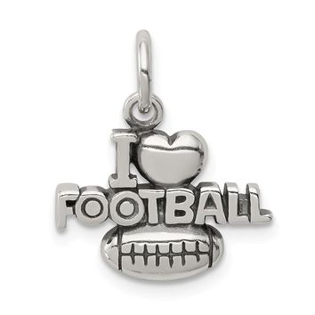 925 Sterling Silver Antique I (heart) Football Charm and Pendant