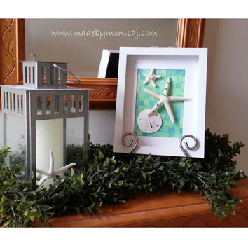 Wall Decor, Beach House Wall Art, Coastal Home Decor, Seashell Shadow Box, Starfish Art, Coastal Cottage, Bedroom Wall Decor, Beach Bathroom