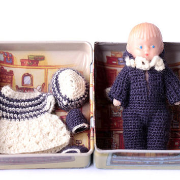 "Miniature crochet clothes for soft doll  2,75"".Dollhouse baby doll.Crochet clothes.newborn doll.kewpie doll.doll house clothes"