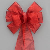 Red Metallic Christmas Holiday Bow