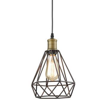 Polygon Diamond Shaped Wire Pendant Light, Black